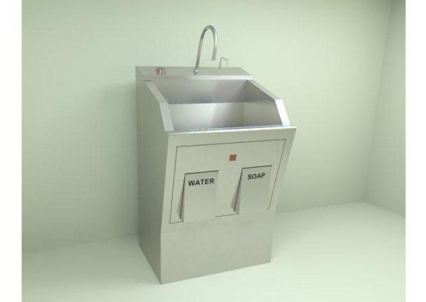 Blickman 9881SSP, Pedestal Single Bay w/Infra red Scrub Sink, Venture Medical Requip