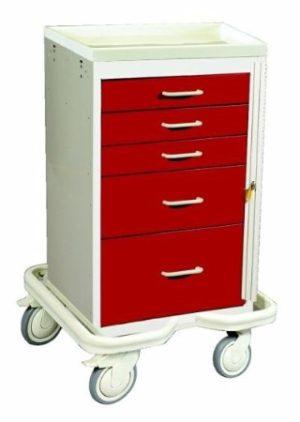 MPD MCT-524, Mini Tower 5 Drawer Emergency Cart w/breakaway Lock, Venture Medical Requip